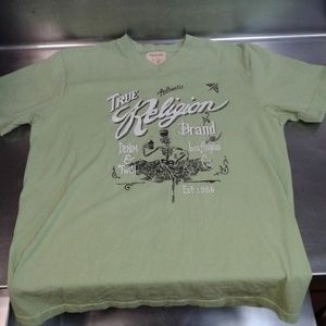 Large True Religion Large Green V-neck T Shirt!